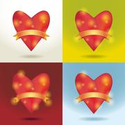 Set Red glossy shiny heart 3d and gold ribbon. Love, wedding marriage ceremon Stock Illustration