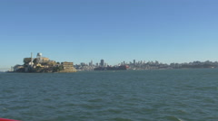 Panoramic view of San Francisco and Alcatraz Island - stock footage