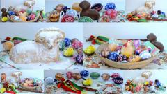 4K montage (compilation) - Easter decoration - painted eggs, ram, chocolate etc. Stock Footage