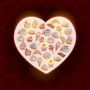 Card Hand drawn confectionery set croissant Cupcake candy marshmallow ice cre - stock illustration