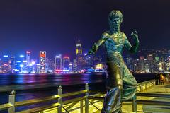 Bruce Lee Statue in Hong Kong - stock photo