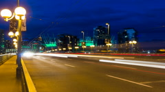 Time Lapse of Traffic Light Trails on Cambie Bridge in Vancouver BC Canada 1080p Stock Footage