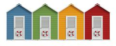 Colorful beach cabins - stock illustration