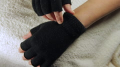Stock Video Footage of Woman Hands With Gloves, Revealing Severe Allergies To Cold, Red And Itchy Skin