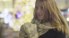 Young beautiful woman smiling and staring at the camera Stock Footage
