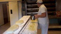 "Cooking long pizza at the ""Forno Campo de' Fiori"" bakery. Stock Footage"