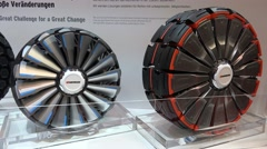 4k Rim and wheel design at Motorshow exhibition Stock Footage