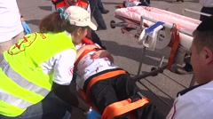 Rescue paramedic team field hospital Himalayan earthquake,Nepal Stock Footage