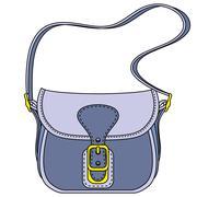 Vector blue ladies handbag - stock illustration