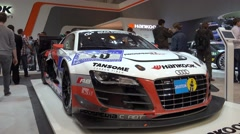 4k Audi GT Masters race car at Motorshow exhibition Stock Footage