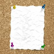 Vector crumpled paper sheet on cork texture with pins - stock illustration