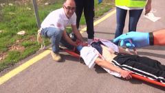 Rescue paramedic team nepal earthquake Stock Footage