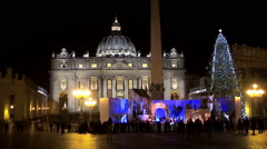 St. Peter's Square and Basilica at night in Christmas time. Vatican City. - stock footage