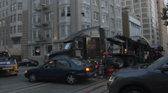 Truck with cars on Powell Street in San Francisco Stock Footage
