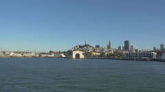 Pier 39 and the Ferry Arch with San Francisco in the distance - stock footage