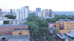 City view. Sunset at the Foz do Iguazu, Brazil. Traffic. Time lapse Stock Footage