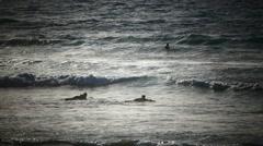 Swimmer Board surfer surfing Playa de las Americas beach Tenerife island Canary Stock Footage
