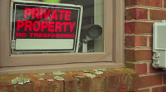 Private property sign paranoid Stock Footage