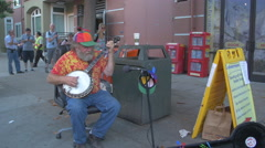Playing a banjo in San Francisco - stock footage