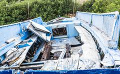 Stock Photo of Abandoned Fishing Boat on beach, Alonissos, Greece