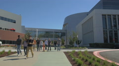 People at the Googleplex entrance Stock Footage