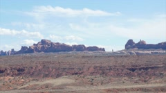 A viewpoint in beautiful Arches National Park Utah panning Stock Footage