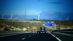 Handheld Driving South highway along wind turbine Tenerife island Canary islands Stock Footage