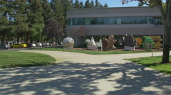 Googleplex entrance with statues Stock Footage