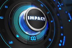 Impact Button with Glowing Blue Lights - stock illustration