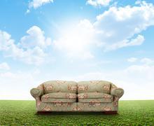 Floral Sofa On Lawn - stock illustration