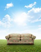 Floral Sofa On Lawn - stock illustration