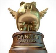 Flying Pig Trophy Award - stock illustration