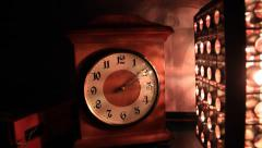 Old retro clock and lamp Stock Footage
