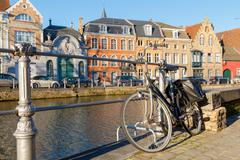 Canal Spiegel Rei, Bruges. Stock Photos