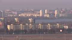 View of the Minsk city from the outskirts 3. Pan Stock Footage