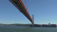 APL cargo ship floating under the Golden Gate Bridge - stock footage