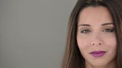 Brunette Girl in Studio, Studio beauty lighting white background slider panning Stock Footage