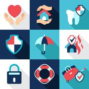 Infographic design elements, protect, safe health and property - stock illustration