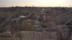 Waste concrete. Including. Two shots Stock Footage