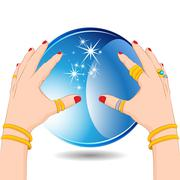 Fortune Teller with Crystal Ball Stock Illustration