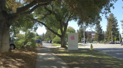 The Apple Campus sign in Cupertino Stock Footage