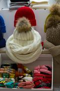 Sale knitted winter hats Stock Photos