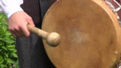 lithuanian musician Drummer play folk country music with drum - stock footage