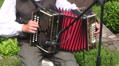 lithuanian musician play folk country music with accordion  in  village - stock footage