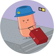 sausage traveler at the airport with luggage - stock illustration