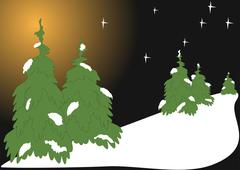winter scenery - stock illustration