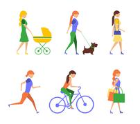 Healthy lifestyle. Physical activity flat  of extremely vigorously moderately Stock Illustration