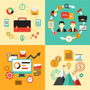 Flat design concept icons for business. Icons website development and mobile - stock illustration