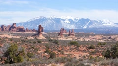 Arch Formations in Arches National Park at Southern Utah panning - stock footage
