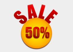 Discount coupon 50 percent on a yellow circle - stock illustration